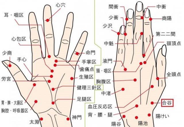 手のむくみに効果的な手のツボ「合谷」